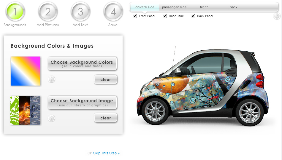 MyStyle Customizer for SmartCar Vehicle Wrap on Custom-Car-Wraps.com