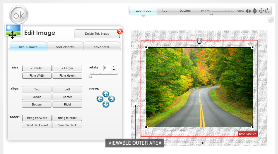 Customizing a Canvas Print in the 2D Full Template View Mode