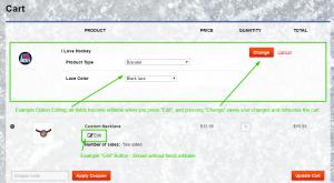 Screenshot of Edit Options Plugin: editing some options in cart